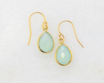 Aqua Chacedony Earring - Mint Aqua Chalcedony Aquamarine - Bridal Earring - Simple Everyday Earring - Small Gold Earring -Sea green Earring