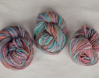 Evening Glow * Three Hanks of Handspun Yarn * 100% Wool * Hand dyed * Spindle Spun
