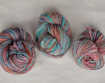 Evening Sky * Three Hanks of Handspun Yarn * 100% Wool * Hand dyed * Spindle Spun