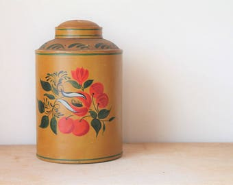 Antique Painted Milk Can- Toleware - Tole Wear - Pennsylvania Dutch - Hand Painted - Folk Art - Decor -