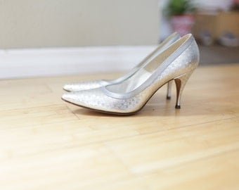 vintage SILVER reptile leather wedge flats womens 7 8