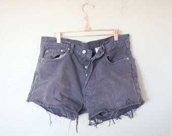 vintage 1980's gray distressed cut off levis 501 button fly  jean shorts 34