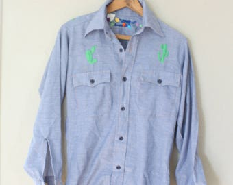 vintage 1970's chambray  embroidered cactus grouch western cut  shirt *