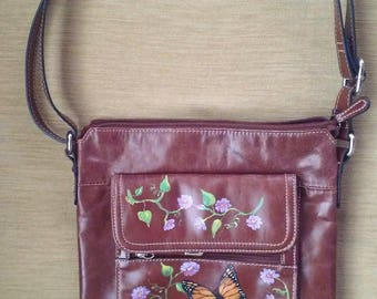 Giani Bernini Purse Hand Painted with Butterfly and Flowers