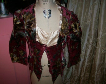 Antique silk velvet top Victorian/Edwardian stunning pattern