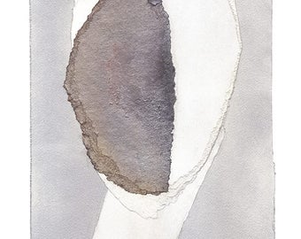 Minimalist Grey Art Print, Abstract Artwork of Original Smooth Head Collage