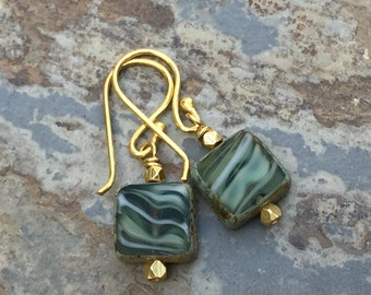 Green Czech Glass Earrings with Gold Vermeil