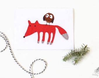 Handsewn card fox and owl, woodland card, handmade card, handstitched card, fox card, owl card, baby gift card, handmade greeting card blank