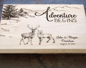 Deer Hunters custom cutting board, Adventure Begins Cutting Board, Wedding present Hunters Outdoor life lovers, Buck and doe wedding decor