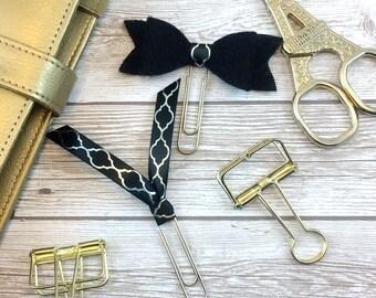 Large Black Felt Bow Planner Clip with Matching Silver Quatrefoil Ribbon Clip // Bookmark // #06
