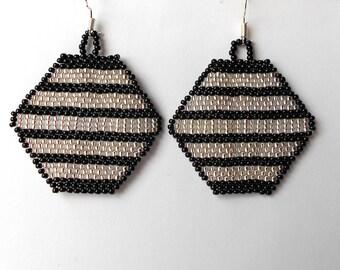 Silver Black  Earrings.  Geometric Earrings. Beaded Earrings. Dangle  Earrings.  Beadwork.