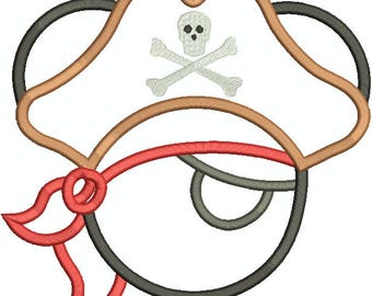 Character Inspired Pirate Mickey Mouse Head, Mouse Ears, Applique, Embroidery Design Machine Embroidery Design 98