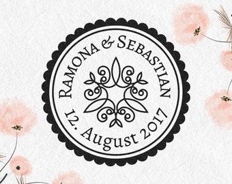 Ornament wedding stamps, wooden stamp, date, name, address, customizable, round stamp, THANK, EINLST, STDST, adrest