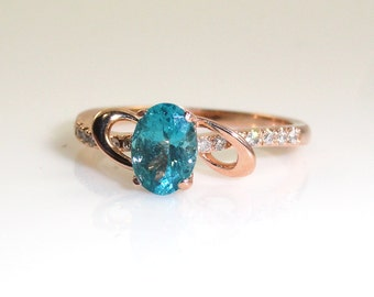 0.89 Carat Indicolite Color Apatite And Diamond Ring In 14k Rose Gold Sale by Best in Gems (14289)