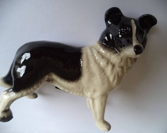 Vintage Large Coopercraft Ceramic Black and White Collie
