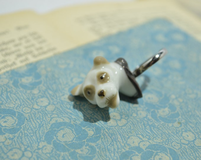 Porcelain ring the dog head from vintage Soviet statue