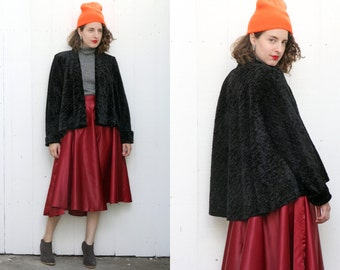 SALE Vintage 80s Jacket | 80s Open Short Black Crushed Velvet Swing Coat | One Size