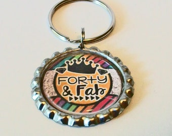 Forty and Fab Birthday Fun Metal Flattened Bottlecap Keychain Great Gift