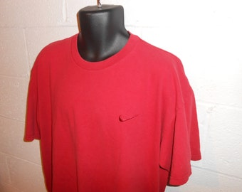 Vintage 90s Red Nike Swoosh T-Shirt Size XL