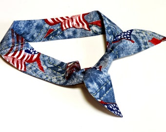 Denim Jean Look Gel Head Bandana, Unisex Red White Blue Neck Cooler, Stay Cool Tie Wrap, Heat Relief Cooling Scarf,Knotted Headband iycbrand