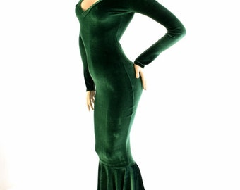 Green Velvet Plush Cozy V-Neck Gown with Long Sleeves and Puddle Train Dress - 154204