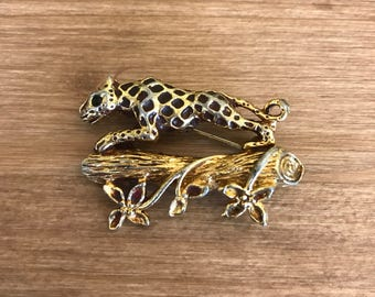 Fiorenza Jaguar Brooch Green Stone Eyes