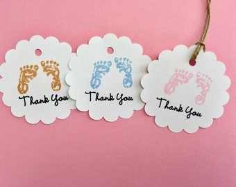 Baby shower tags, Baby shower gift tags, Baby shower favor, Thank you tags, Footprints tags, Baby Girl, Baby Boy, Gender neutral baby