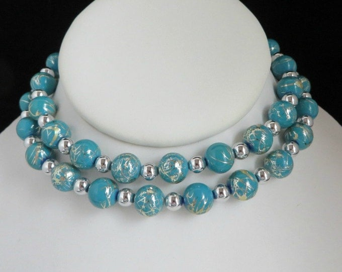 Teal Green Silver Tone Etched Bead Necklace