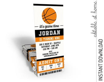 Basketball Invitation, Basketball Birthday Invitation, Basketball Ticket INSTANT DOWNLOAD you personalize at home