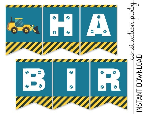 Construction Banner INSTANT DOWNLOAD