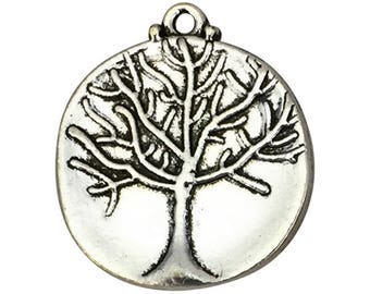 3 Disk Silver Tree Charm 26x23mm by TIJC SP1534