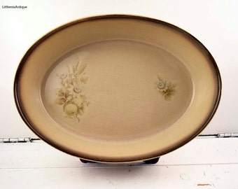 Vintage Denby Pottery England Handcrafted 'Memories' pattern Stoneware Casserole Dish Retro English Pottery Cookware