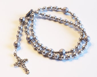 SILVER Handcrafted Catholic Saints Rosary Necklace Beaded Chain