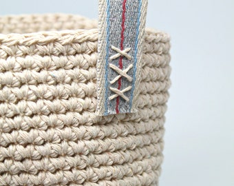 Crochet Basket- Cotton String Basket- round storage basket- small with decorative handles- handmade home decor