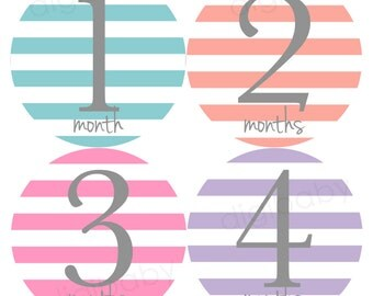 Stripes Baby Month Milestone Stickers, Baby Shower Gift, Stripes Baby Stickers, Monthly Baby Stickers, Baby Month Stickers for Girls or Boys
