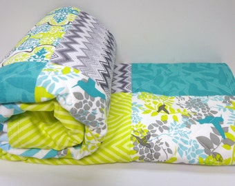 Modern Baby Quilt with Hummingbirds-Gray-Charcoal-Citrine-Teal-Chevron Baby Blanket-Baby Quilt Kit-DIY
