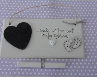 Personalised pregnancy chalkboard countdown weeks til baby arrives new baby mum shower gift keepsake