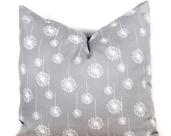 SALE ENDS SOON Gray Pillow Covers, White Dandellion Pillows, Floral Throw Pillows, Flower Pillowcase, Cushions, 16 x 16""