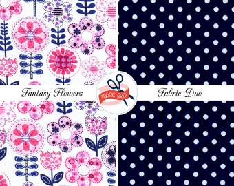 PINK & NAVY Fabric Bundle by the Yard Half Fat Quarter Michael Miller Fantasy Flower Fabric 100% Cotton Quilting Fabric Apparel Fabric Kit
