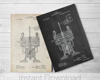 Tesla Printables, Tesla Reciprocating Engine Poster, Tesla Motors, Technology Art, Physics Poster, PP1094