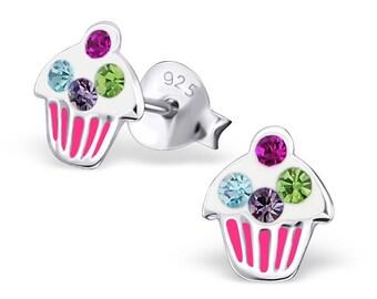 Children's CZ Enamel Happy Birthday Cupcake Stud Earrings 925 Sterling Silver - ES1362