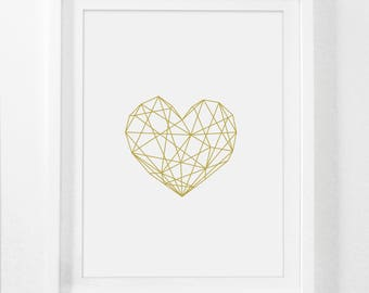 Glam Decor, Geometric Poster, Gold Heart Art, Glam Wall Art, Gold Print Heart, Glam Art, Geometric Posters, Gold Poster, Printable, Digital