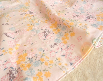 "BABY BLANKET,nani iro Pink Flower Bird,Double Gauze Cotton,Japanese Fabric,Flannel,Light Weight,Thin Blanket,31x24"",Ready to Ship,Baby Girl"