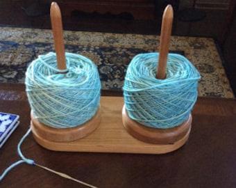 Handmade Double Cherry Yarn Buddy, Yarn Lazy Susan, Yarn Holder, Yarn Spinner, Yarn Caddy, Ball Winder, Yarn Spindle
