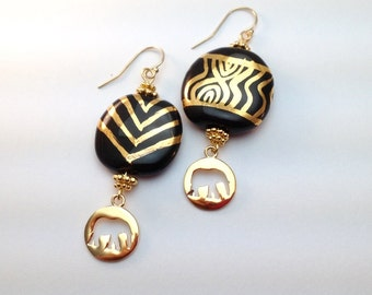 gold elephant earrings, Kazuri beads, black & gold, African jewelry, Fair Trade jewelry, tribal design, non profit, Kenya, ceramic beads