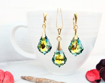 24k Gold Plated Swarovski Earring Necklace Set-Wedding Bridesmaids Swarovski Baroque Crystal Jewellery-Dangle Multi Tone Green Yellow