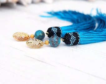 Extra long turquoise earrings Statement tassel earrings Hippie boho earrings Gold plated studs Ethnic gemstone earrings Long drop earrings
