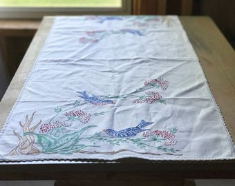 Hand Embroidered Bird Table Runner