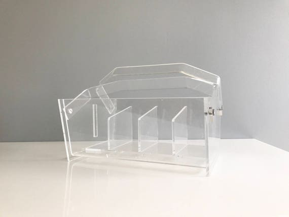 Vintage Lucite Utensil Caddy and Organizer / Lucite Makeup Caddy / Lucite Caddy / Lucite Organizer