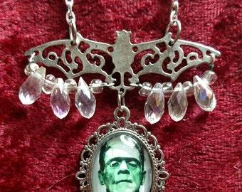 Rockabilly  FRANKENSTEIN Bat & Crystal Pendant Necklace